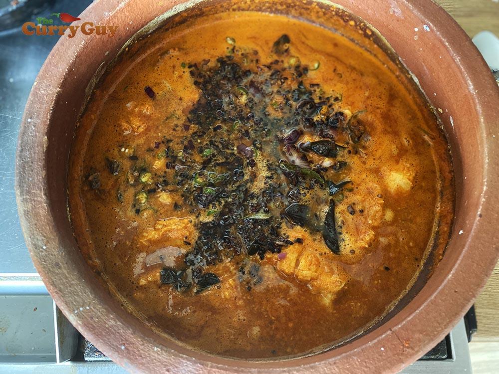 Tarka added to Malabar fish curry