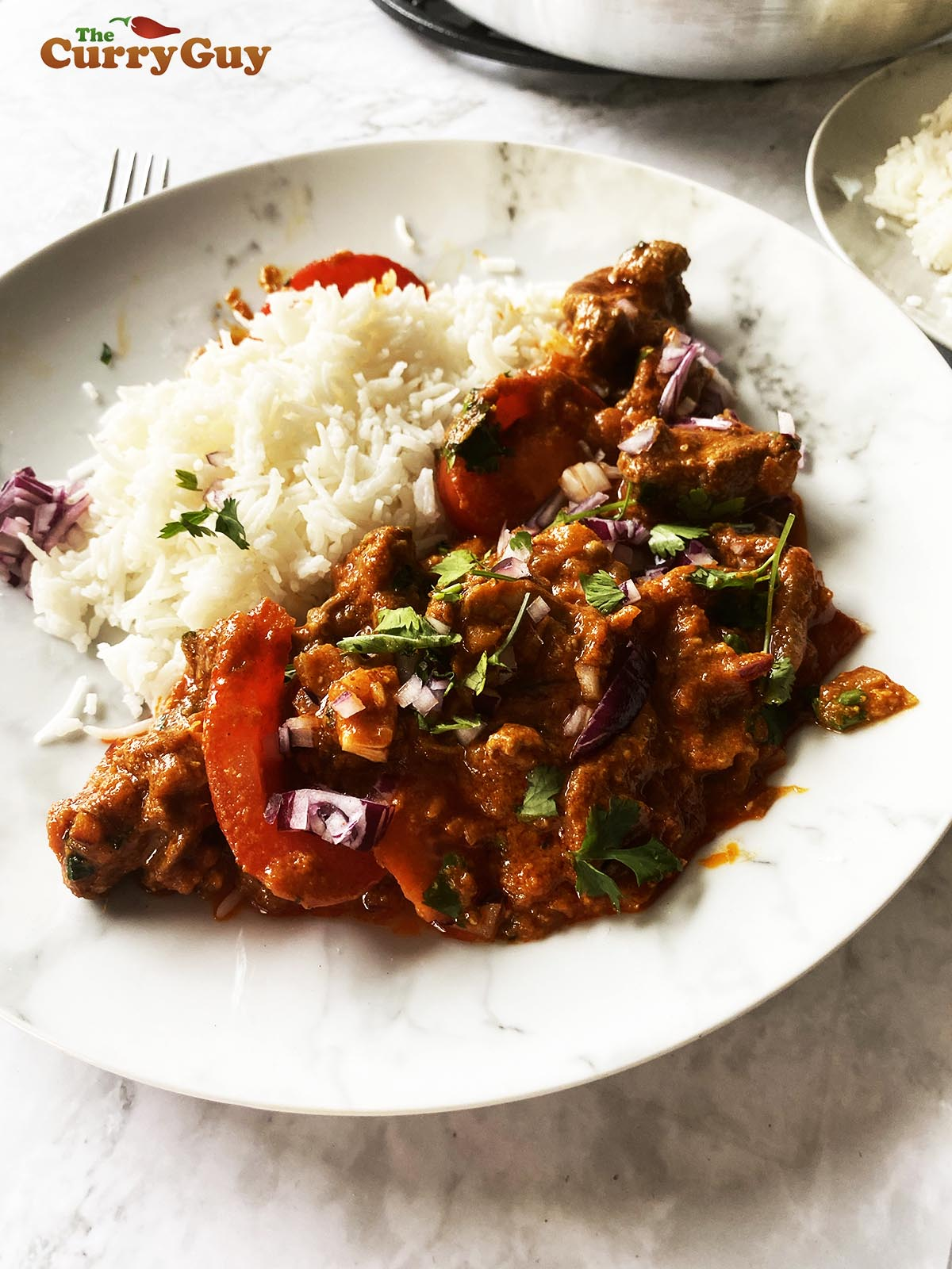 Rogan Josh curry with rice