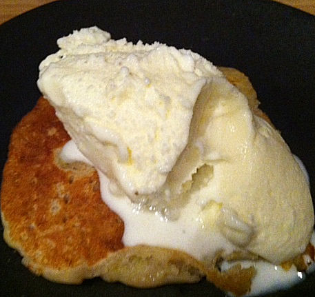Banana dosas with ice cream