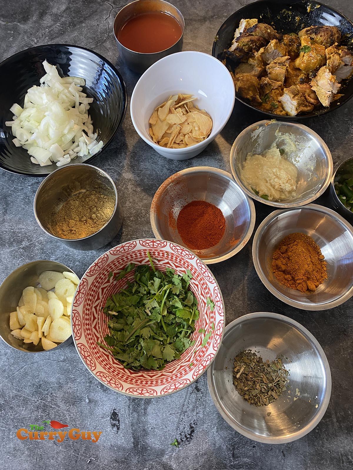 Ingredients for garlic chilli chicken