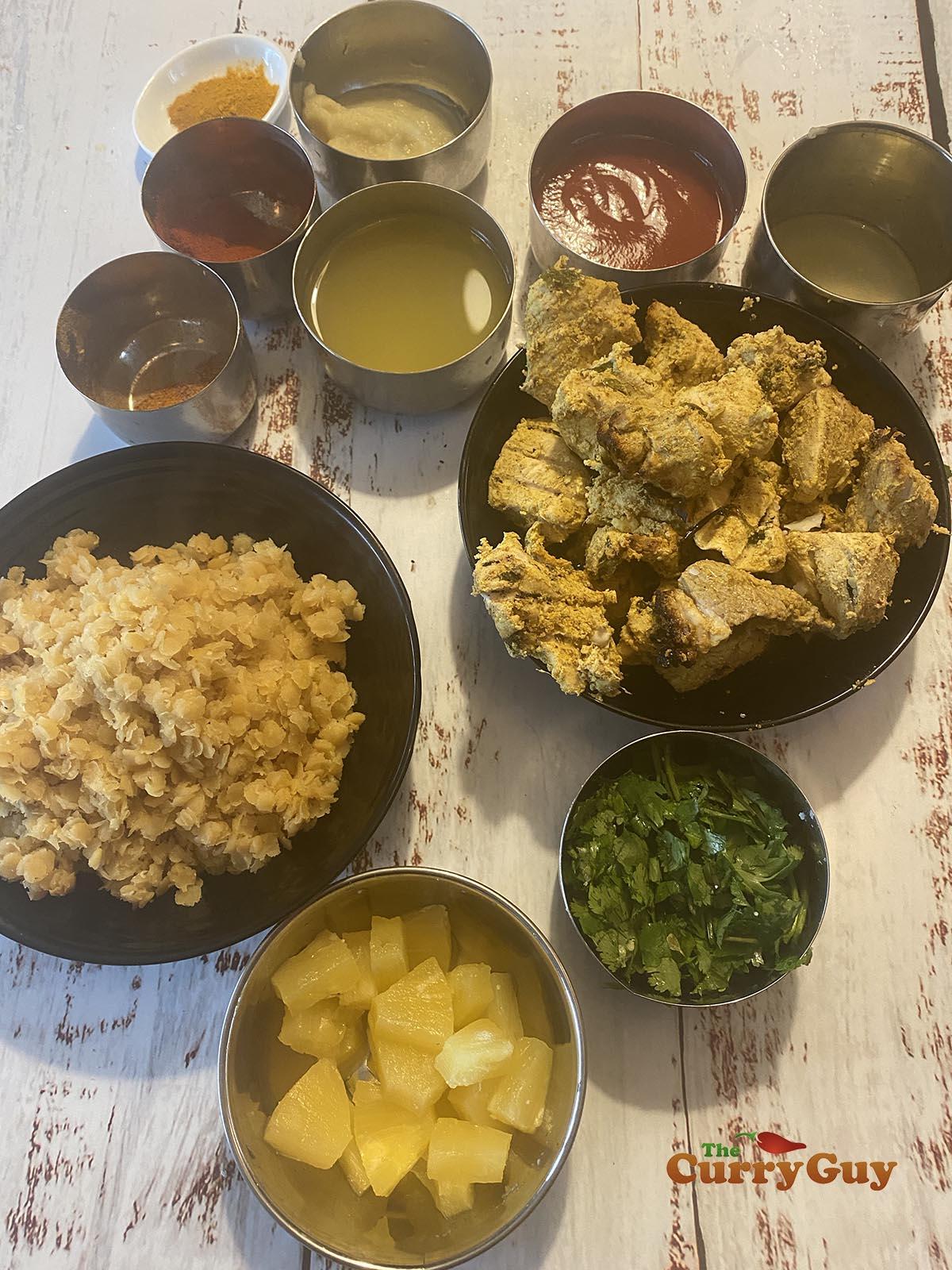 Preparing ingredients for chicken dhansak