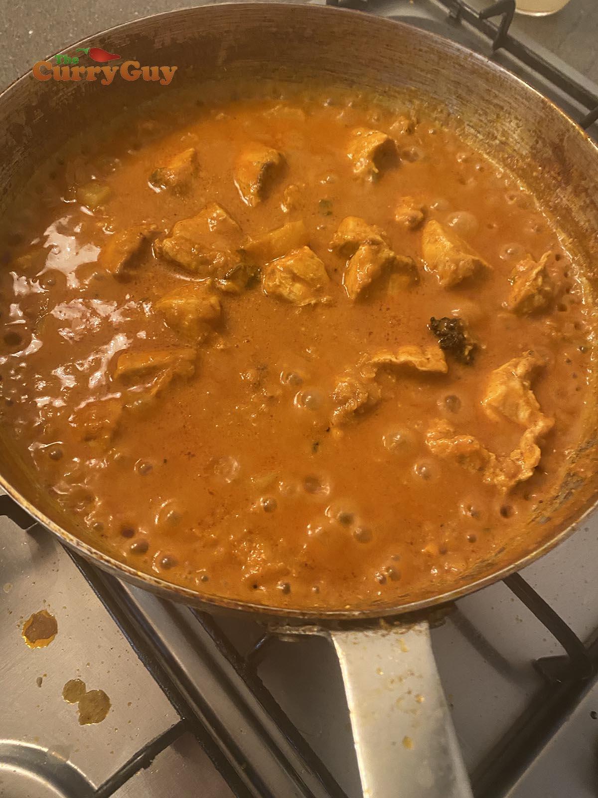 simmering chicken dhansak