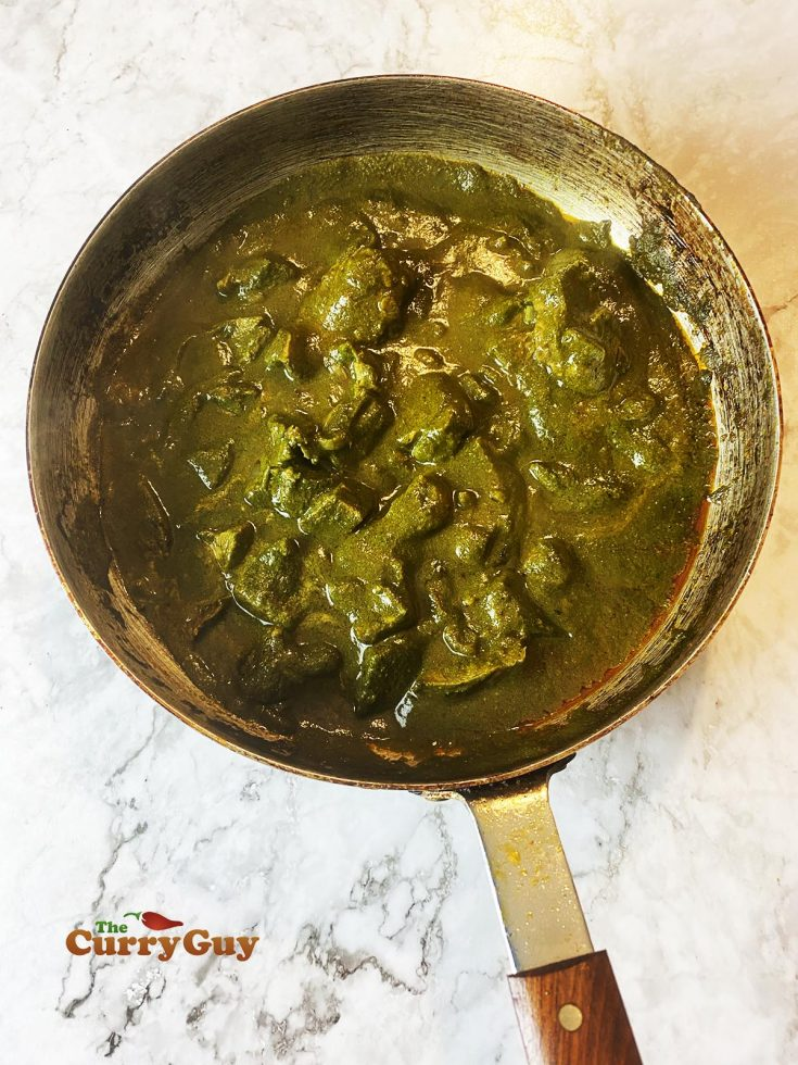 finished lamb saag curry