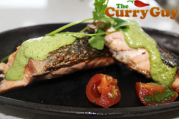 Salmon with a coriander and lime sauce