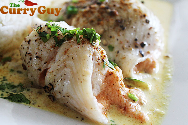 Plaice Paupiettes With Hot Smoked Salmon And A Creamy Curry Sauce