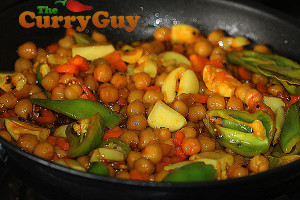 Making chickpea pickle.