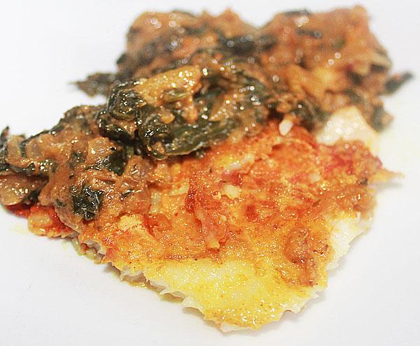 Pangasius Shatkora Palak Nagamaas – Spicy Fish Curry With Naga Chilies