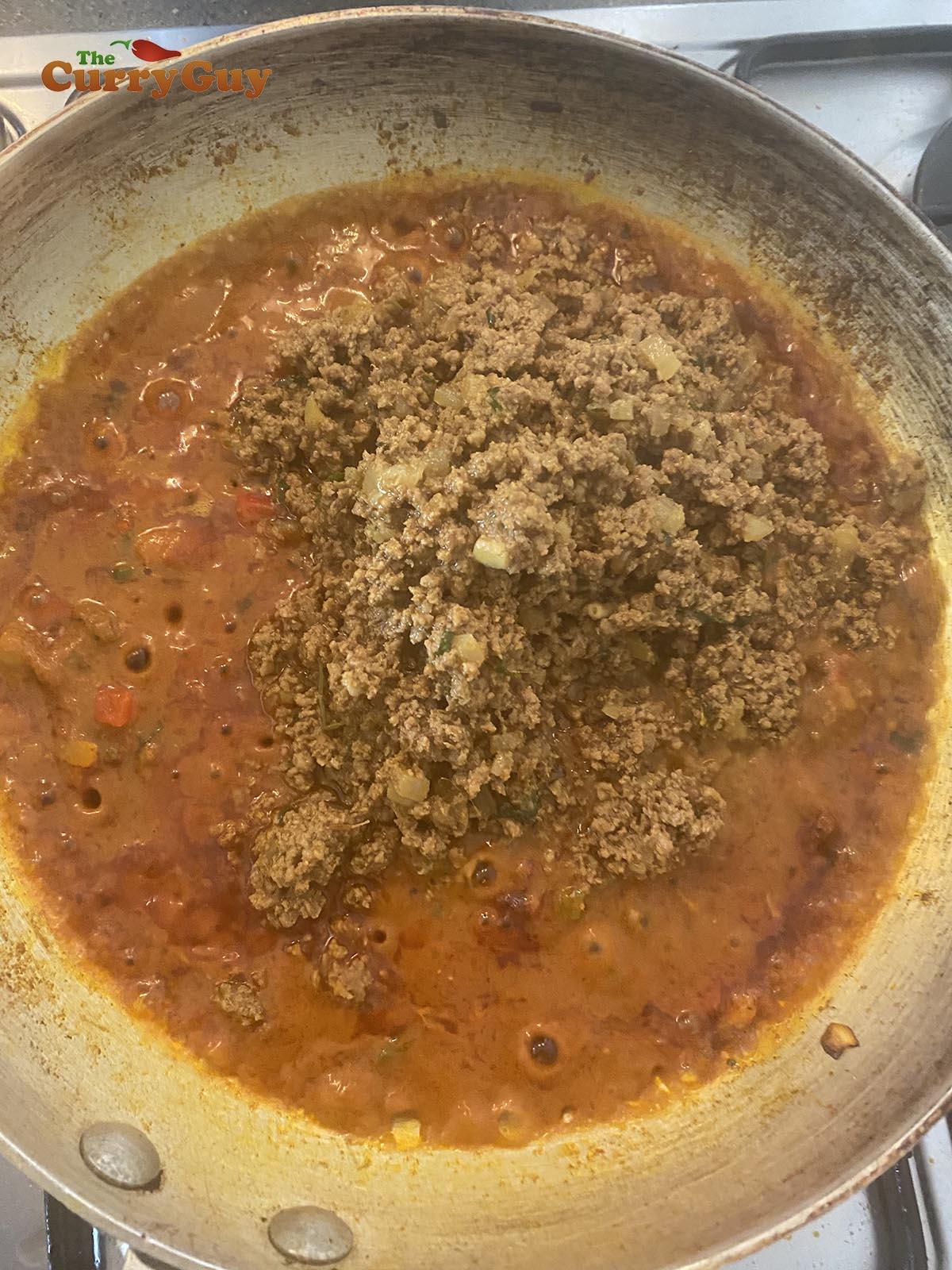 Adding pre-cooked keema
