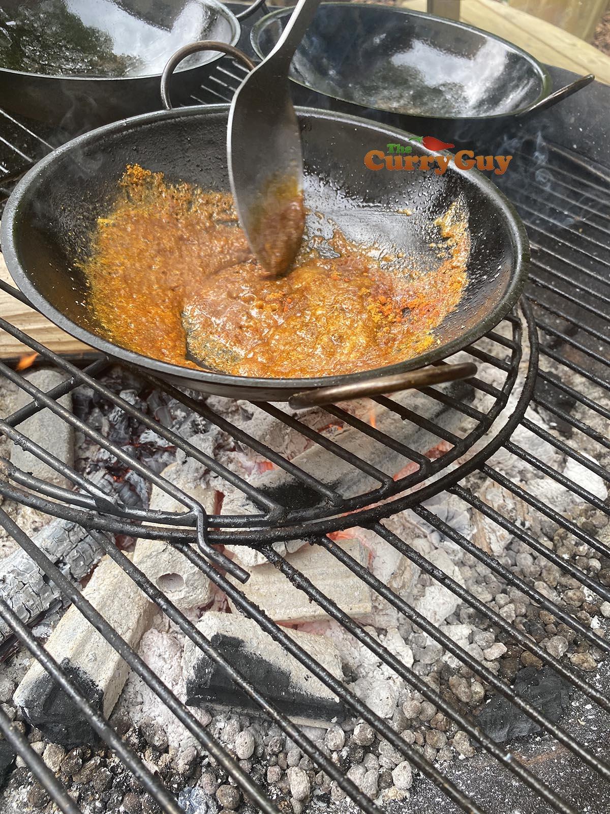 Start of cooking rogan josh balti