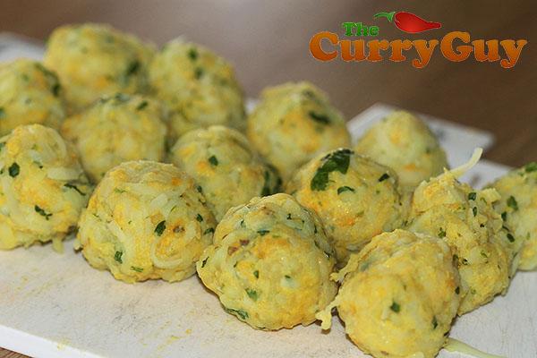 Making potato koftas