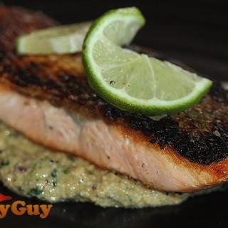 Pan Seared Salmon With Cashew & Coriander Sauce