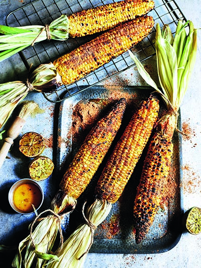 "Spicy Grilled Corn on the Cob with Lime from ""The Curry Guy Veggie"
