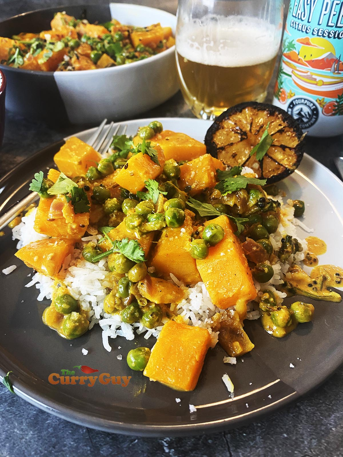 Butternut squash curry ready to eat.