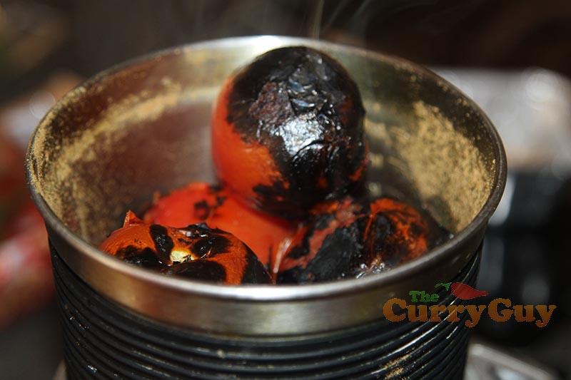 Making Keralan Roasted Tomato Chutney