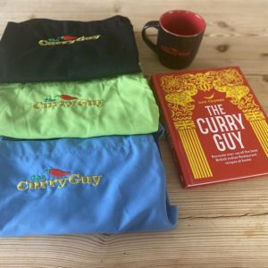 curry guy apron, mug and book
