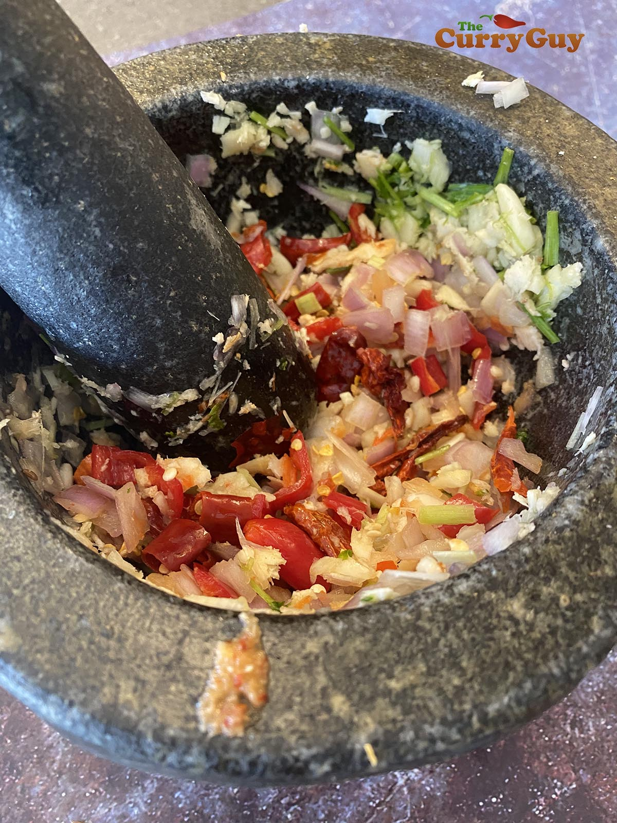Pounding curry paste ingredients