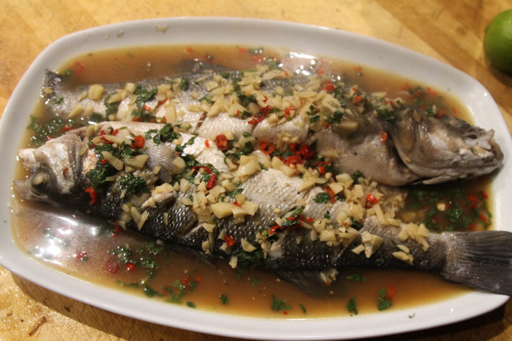 Thai Steamed Sea Bass With Lime and Garlic Sauce