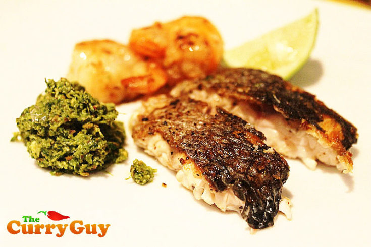 Low Fat Recipes - Roasted Sea Bass with Indian Coriander and Coconut Chutney