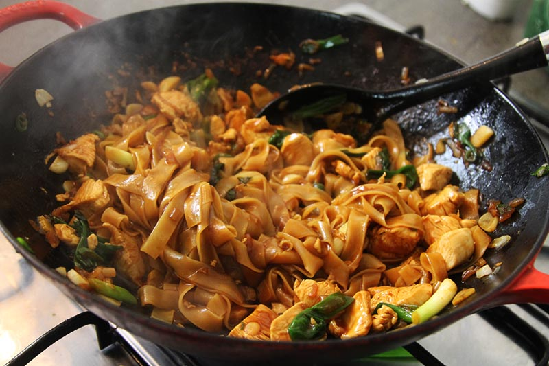 Thai drunken noodles with