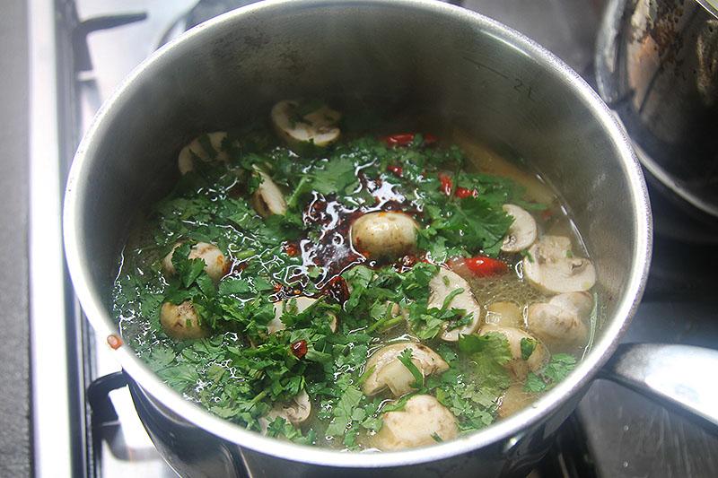 Making Tom Yum Gai Soup