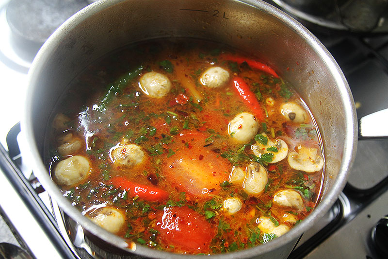 Making Tom Yum Gai Soup