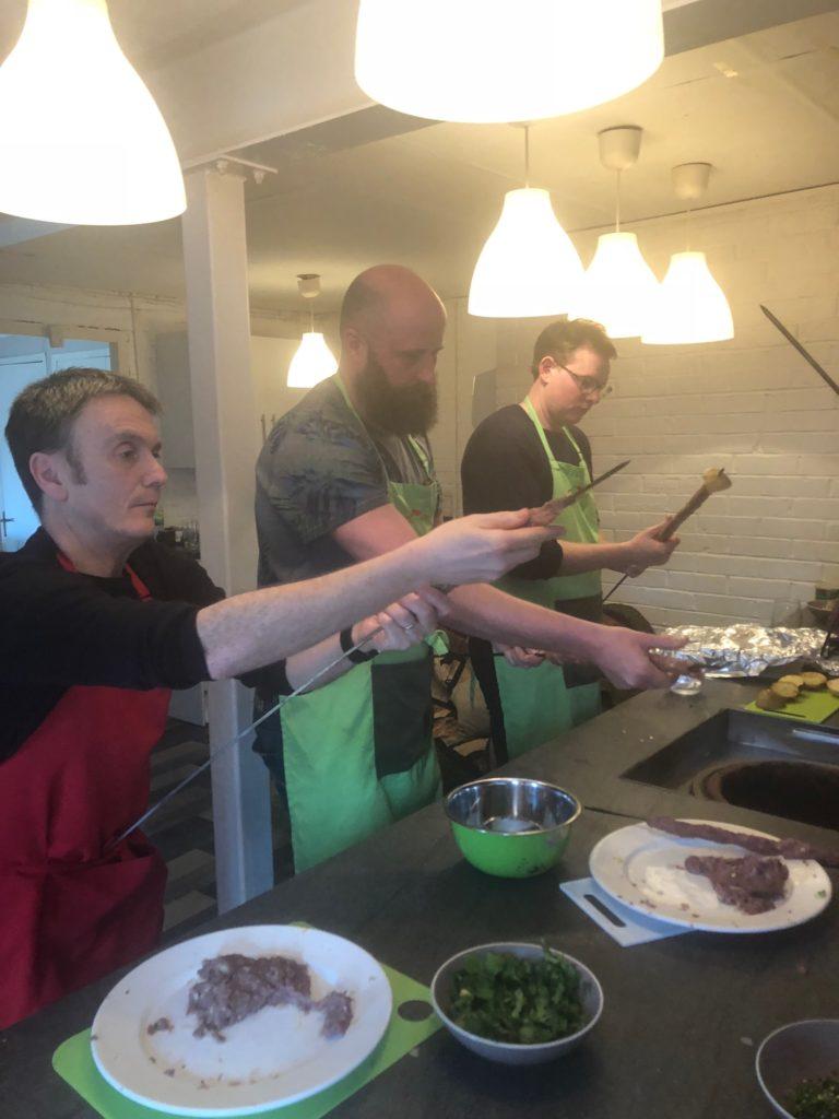 Making seekh kebabs