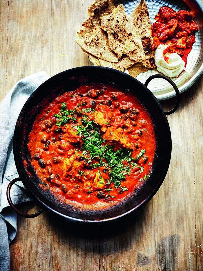 Balti chicken and black beans