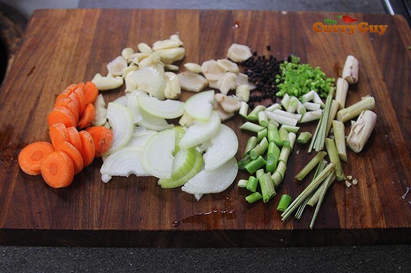 Vegetables that go into Thai pork stock