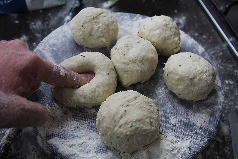 Dividing dough into dough balls