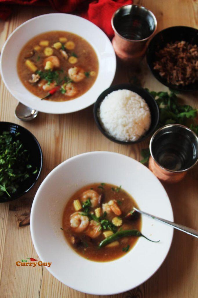 Thai prawn and pork soup