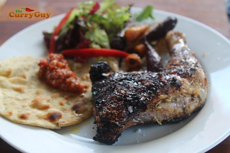 spicy grilled chicken with chapatti