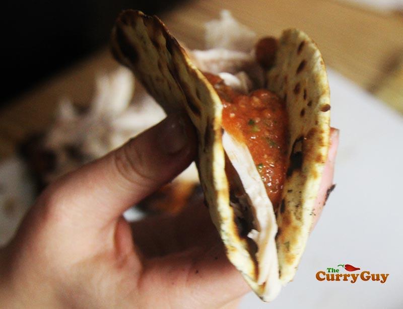 Spicy grilled chicken wrap