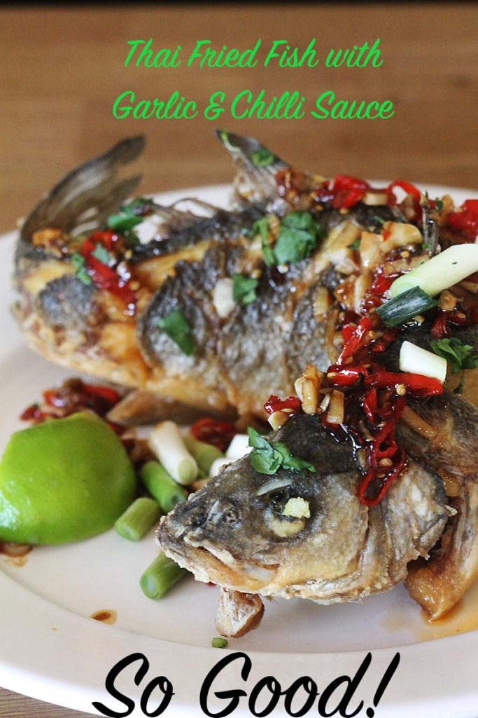 Thai fried fish with garlic and chilli sauce