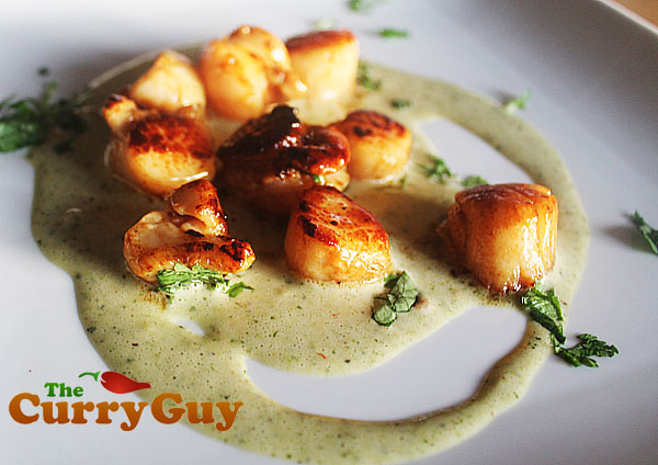 Pan Seared Scallops In A Lime, Coriander And Chilli Dressing