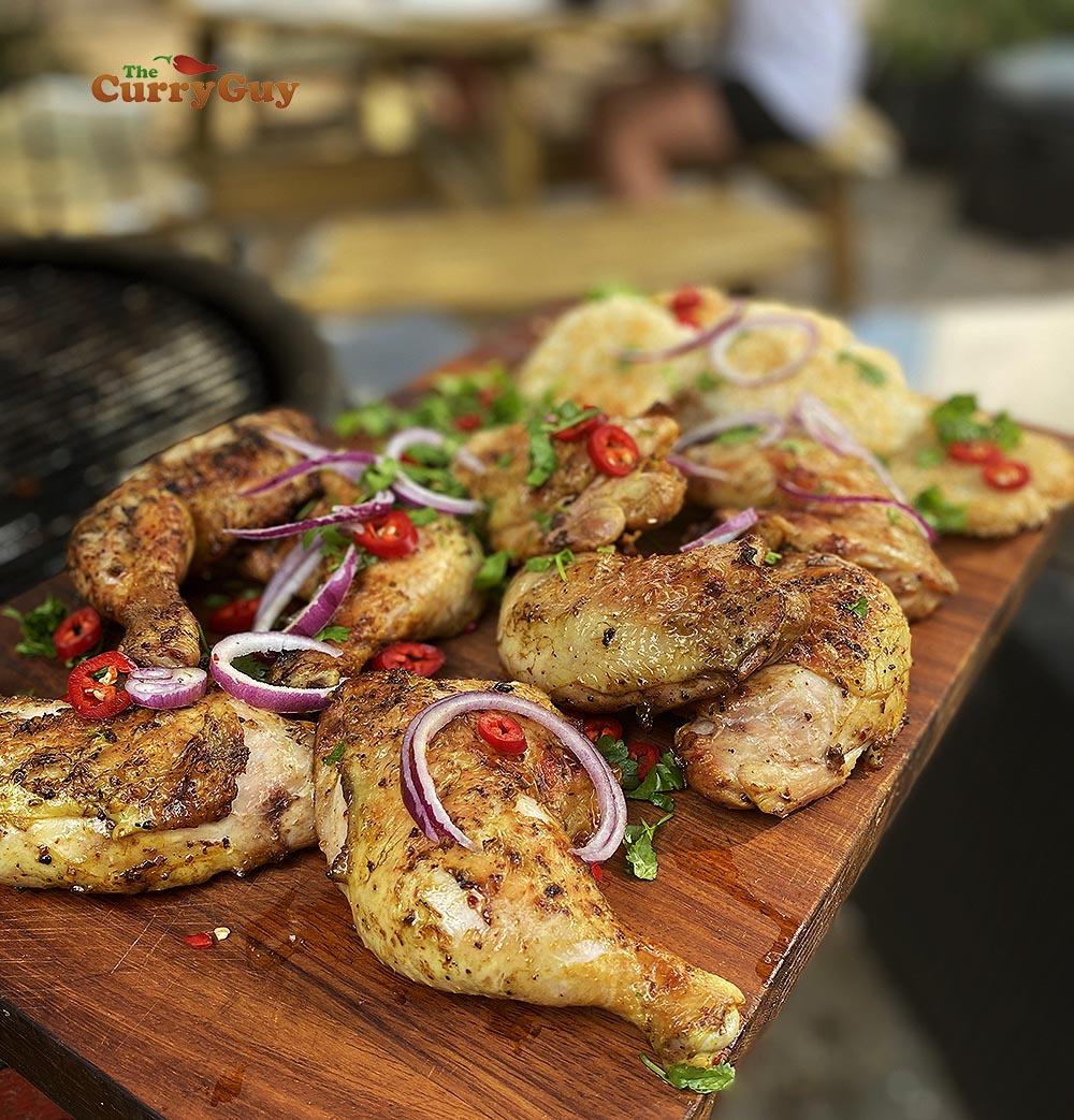 Serving spicy chicken