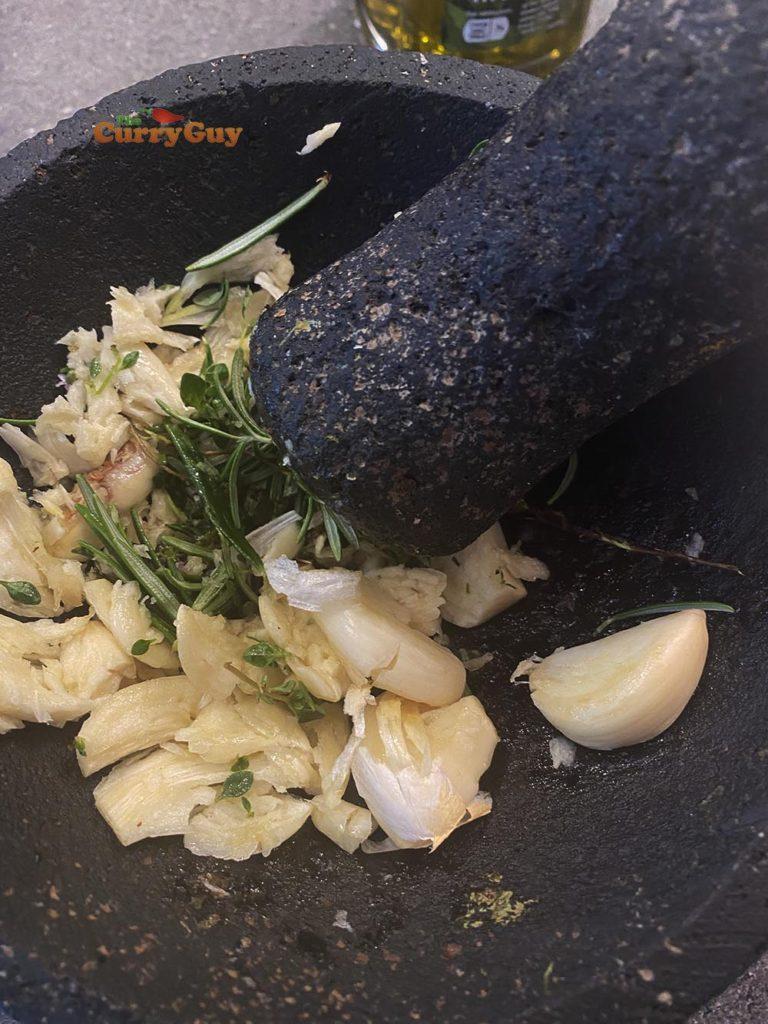 smashing garlic