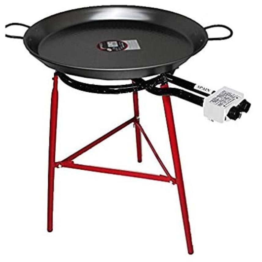 Paella Cooking Set with 70cm Polished Steel Paella Pan, Gas Burner, Legs and Skimming Spoo