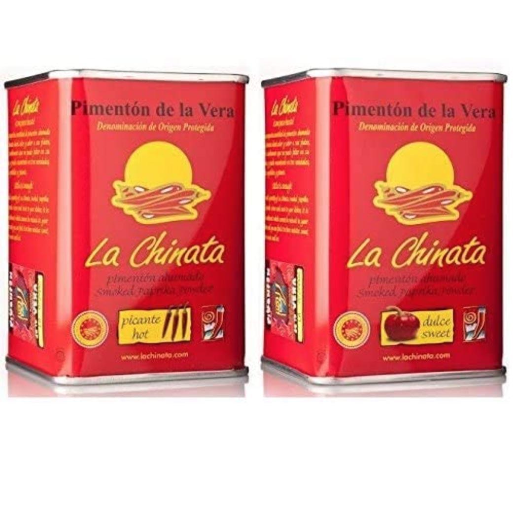 La Chinata Smoked Paprika Powder - Sweet and Hot Twin Pack (2 x 160g Tins)