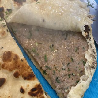 Finished Indian restaurant style keema naan