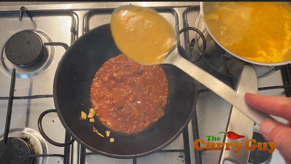 Adding the base sauce