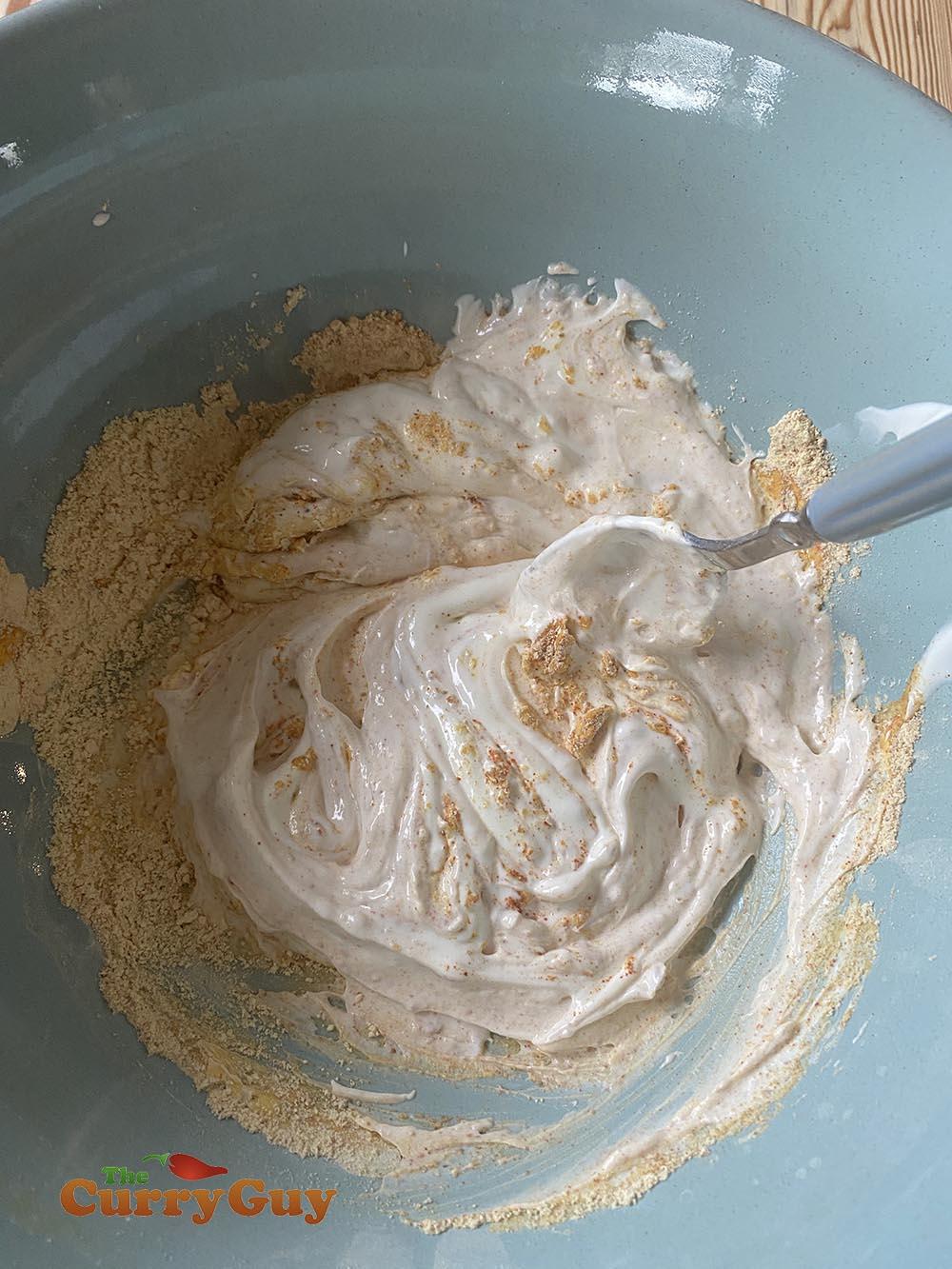 stirring flour mixture into the yoghurt