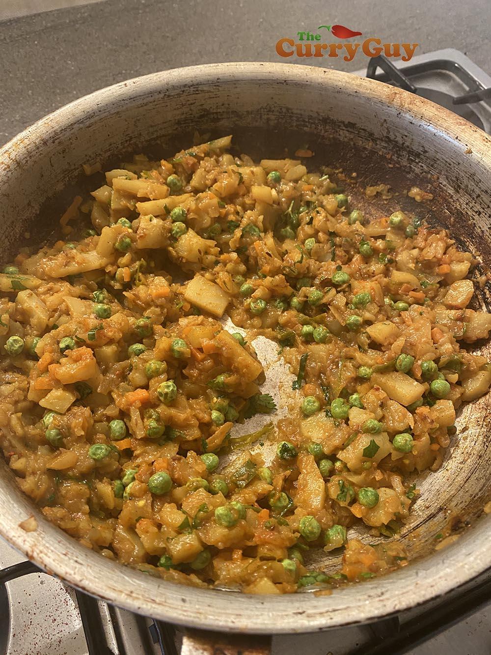 Adding peas