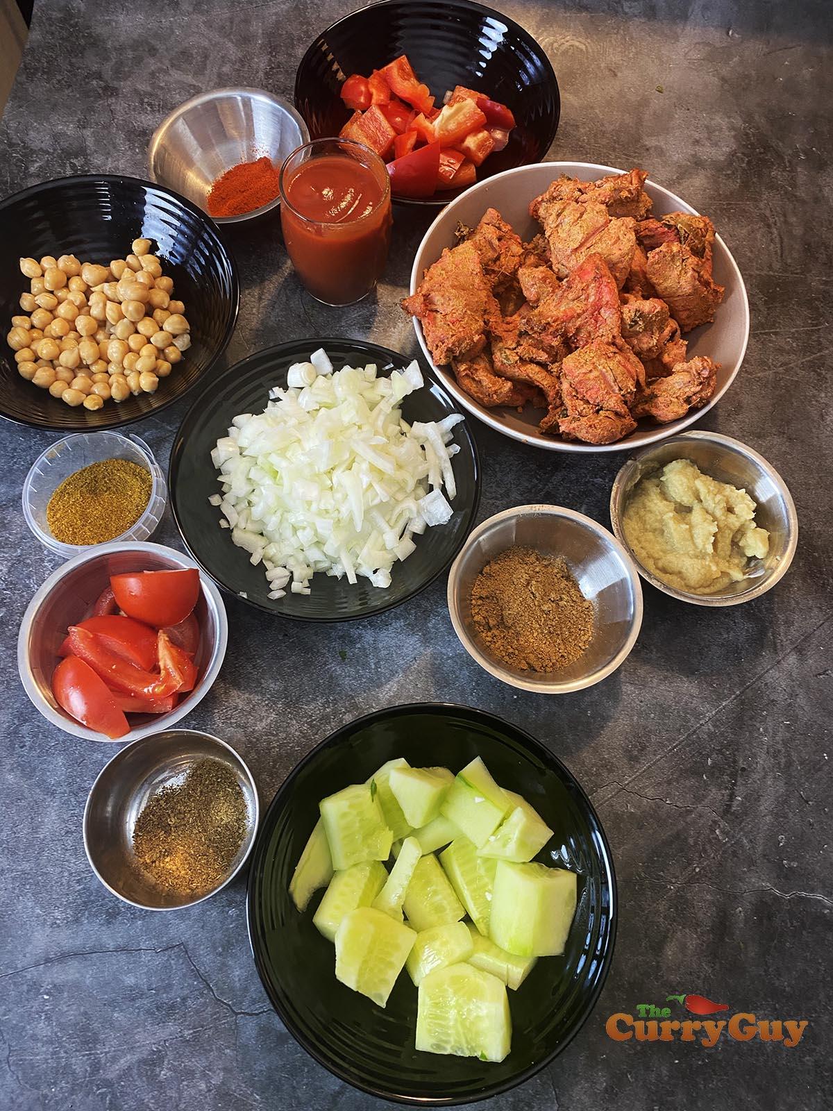 Ingredients for restaurant style chicken chaat