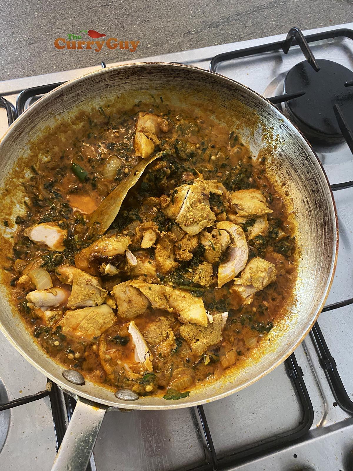 Adding chicken.