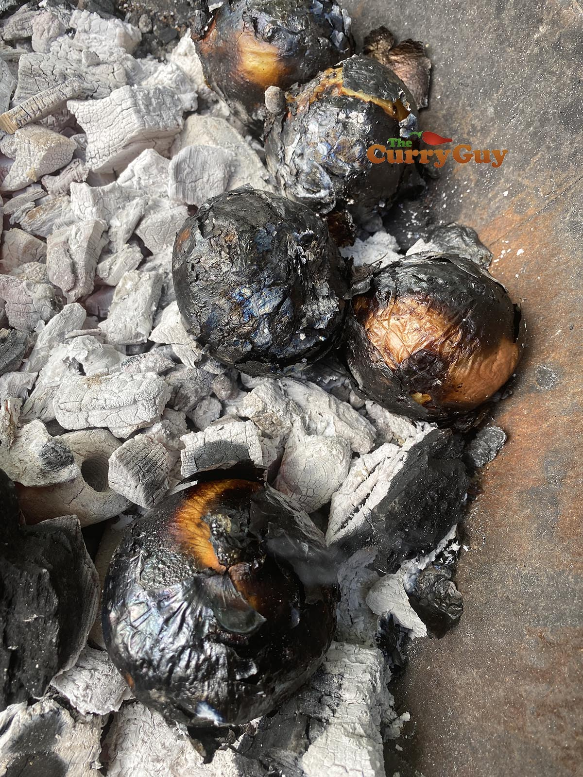 Onions cooking in embers