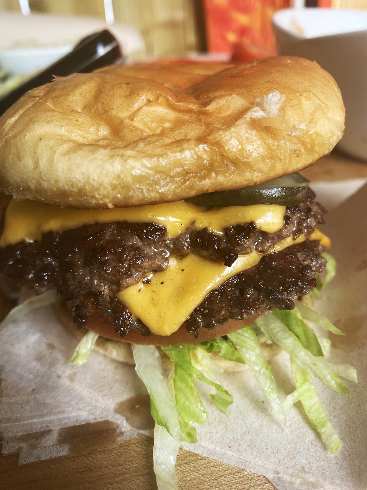 Smash burger prepared