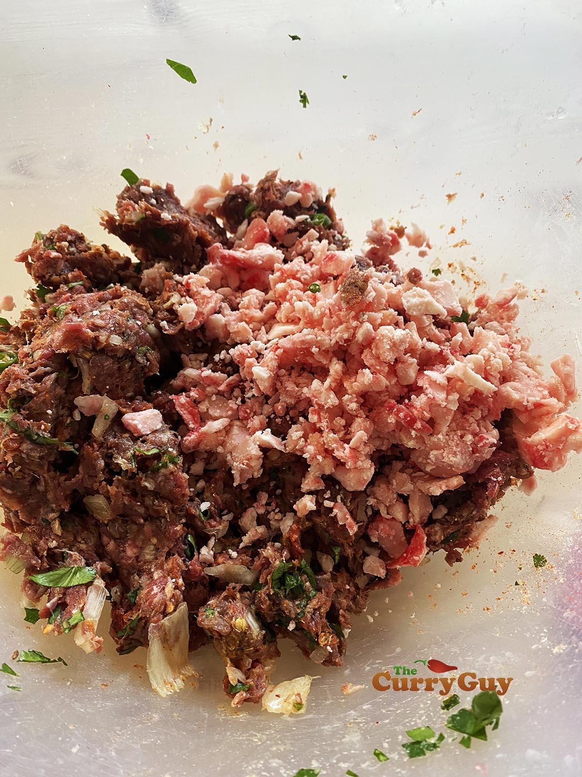 Adding bone marrow to kebab meat